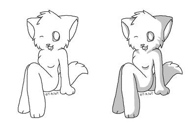 FREE Sitting Kitty Base (Shaded + Non-shaded) by Twine-Adopts