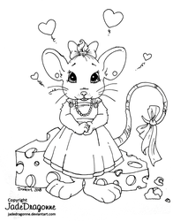 Little Miss Mouse - Lineart by JadeDragonne