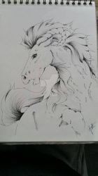 Pen drawing Horse theme by LilleJah