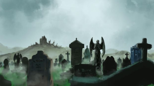 Weeping angel's graveyard by Silberius