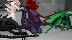 Xenomorph Mating season: tits and toes tickled by alienvs