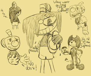 Inked Cuphead Mugman and Bendy sketchdump by Glitched-Irken