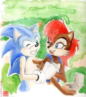 Water color Sonic-Sally by Son-Neko