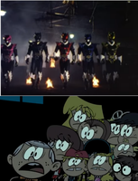 Loud Siblings Scared of The Psycho Rangers by MegaD3