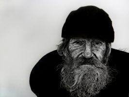 The Homeless Fisherman Portrait by MyaWho