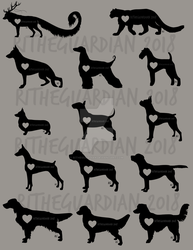 Heart Silhouette Animal Designs by RitheGuardian