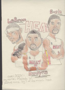 The Big 3 For The Heat color by Malachitheartist