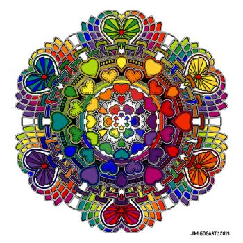Valentine Mandala drawing 58 Rainbow Coloured by Mandala-Jim