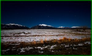 Full Moon lights the snow in Alamosa Valley CO by ByLagarto