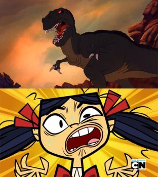Kitty's Scared of Sharptooth by Uranimated18