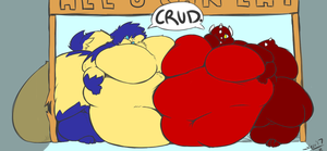 A Demon and a Cat waddle into a buffet... by BlueCatButt