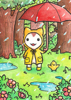 Rainy Day - aceo by Mellymiew