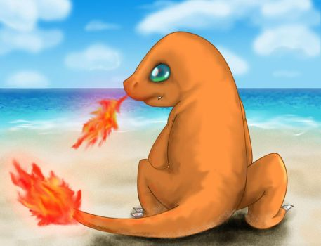 Charmander at the beach by TheMoonMonkey