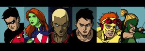 Young Justice face details by peetietang