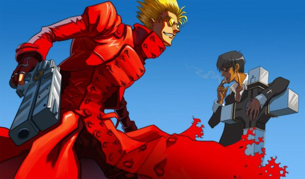 Vash and Wolfwood by Adreean