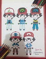 Ash (chibi) In Different Region's Outfits~ by TheKalosQueenSerena