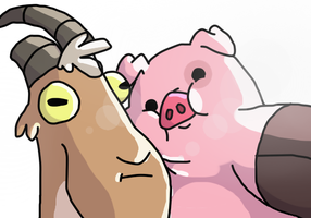 Gompples- goat and a pig~ by DoddleFur