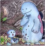 Wooper and Quagsire by Antaie