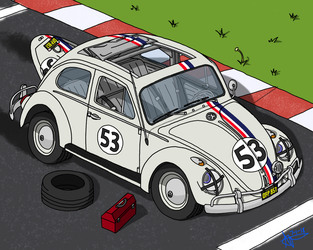 Herbie at the Starting Line by omega-steam