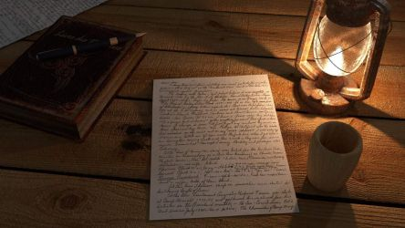 Letter on table 3D model by Perlin18