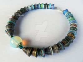 Recycled Paper beads necklace by OmbryB