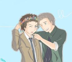 Destiel: Flower crown by Kurofer-Aldred
