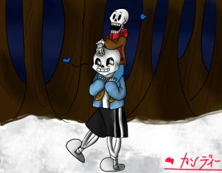 Sans and Baby Papyrus by CandyNayaki