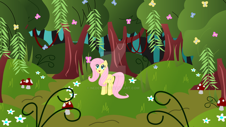 Fluttershy in the Forest by Nedemai