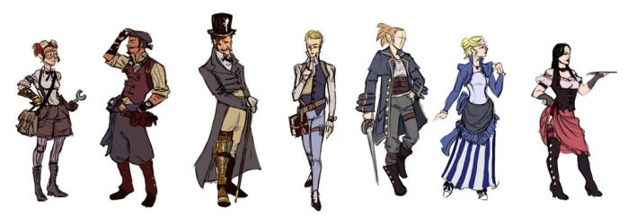 Cedaria:Blackout - NPC sketches by Umerean