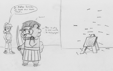 BSC/HFC Doodle - Tedoof vs Daisy in Archery by ADHedgehog