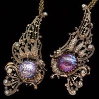 His and Hers Dragon Necklace by byrdldy