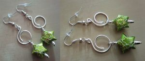 green paper star and silver wire earrings by syn-O-nyms