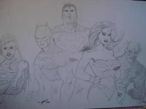 Superheroes colab sketch by steveyoungsculptor
