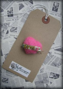 Love-Heart Tattoo Needle Felted Brooch by Unfairytales