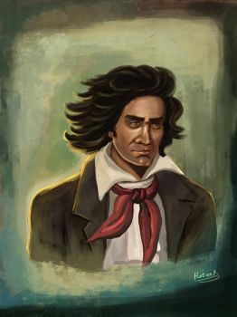 painting Ludwig van Beethoven Portrait by eydii