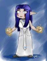 night elf priest in mooncloth robe by hclark