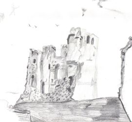 Bw Sketch Of Scarborough Castle by musehick