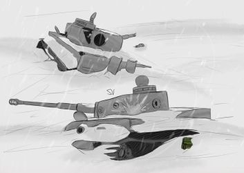 Tigers in the snow by Vizelius