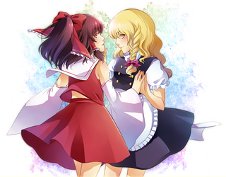 Reimu and Marisa v2 by Motoko-Su