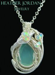Aqua Chalcedony Wire-Wrapped Pendant in Sterling S by HeatherJordanJewelry