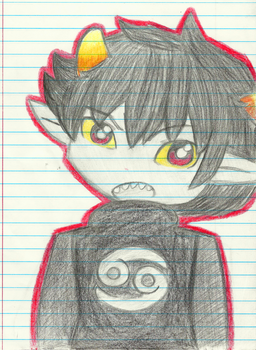 Karkat on Notebook paper by TheCherryGoldfish