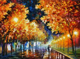 GOLD BOULEVARD by Leonid Afremov by Leonidafremov