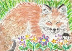 Fox watercolor aceo original painting by tulipteardrops