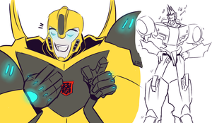 TFRID: Bee and Sideswipe by Fulcrumisthebomb