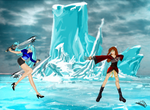 Ice field:Frost and Reika battle by frost018