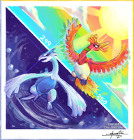 Lugia, Ho-Oh!  Pokemon One a Day, Series 2! by BonnyJohn