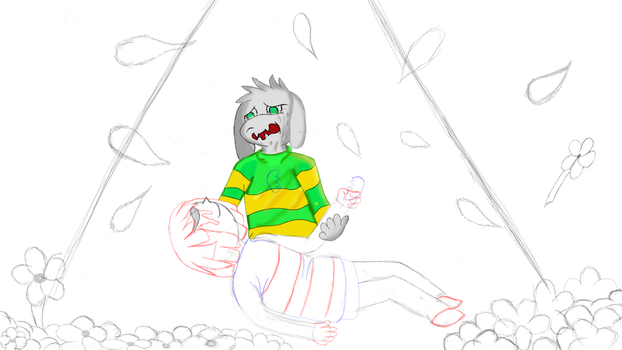 Random Asriel and Frisk pic WIP coloring phase 2 by CrazyMates2300