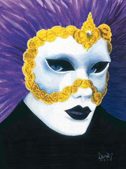 Venice carnival mask watercolour by Sturby