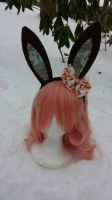 Fancy Frills Brown Bunny Ears with Bow by Hop-is-my-Hero