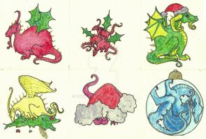 A selection of Xmas Dragons by Scellanis
